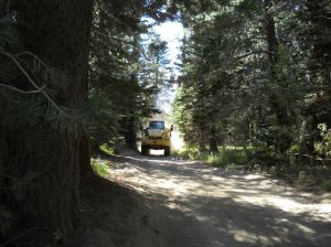 22 Big trucks narrow trail